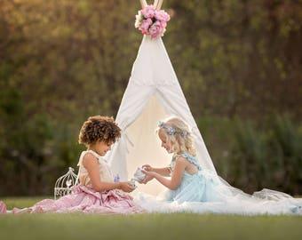 teepee, teepee with lace, teepee tent, kids teepee, nursery decoroors, girl teepee, princess gift, baby girl  gift