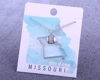 Customizable! State of Mine: Missouri Softball Silver Necklace - Great Softball Gift!