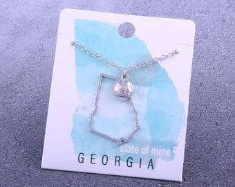 Customizable! State of Mine: Georgia Soccer Silvertoned Necklace - Great Soccer Gift!
