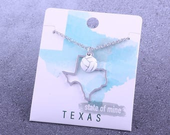 Customizable! State of Mine: Texas Volleyball Enamel Necklace - Great Volleyball Gift!