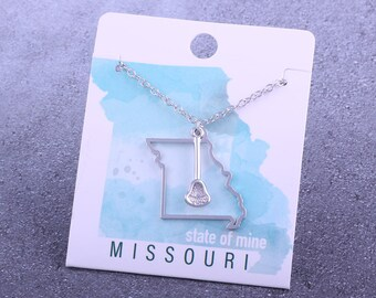 Customizable! State of Mine: Missouri Lacrosse Stick Silver Necklace - Great Lacrosse Gift!