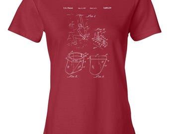 Rock Climbing Chalk Bag Patent Art Womens T-Shirt, Climber, Bouldering, Rappel, Rappelling, Gift, Vintage, Print