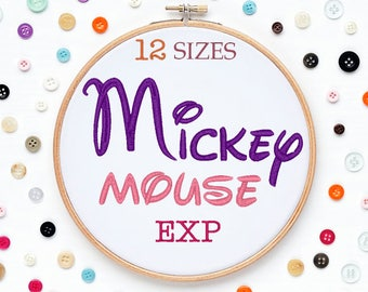 12 Sizes Mickey Mouse  Disney Embroidery Font EXP Format Embroidery Machine,Initials Monogram,Monogram Design,Instant Download