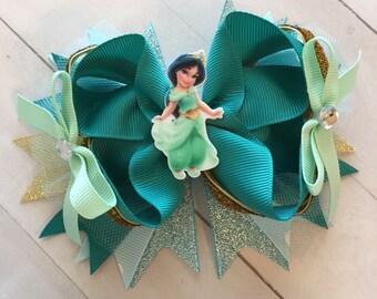 Princess Jasmine Hair bow, Aladdin hair bow, Jasmine hair bow, aqua hair bow, Boutique Hair Bow, Jasmine Birthday, Jasmine Hair Bow