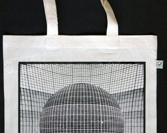 Figure and Grid Silkscreen Heavy Shopper Tote