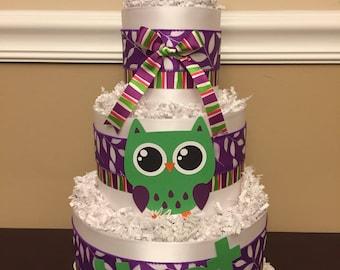 Diaper Cake Purple White Green Hoot Owl Girls Pampers Baby Shower Centerpiece
