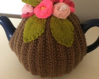 Lovely Hand Knitted flower tea cosy