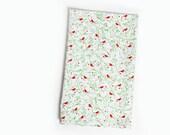 Bird Tea Towel, Red, Green White, Tea Towel, Bird, Cardinal, Bird Lover, Gift, Gift for Bird Lover, Red Bird, Red Green Towel, Holiday Towel