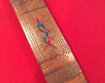 Oak Wine Barrel Stave Cribbage Board
