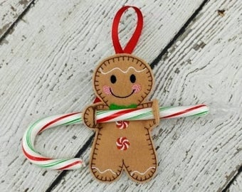Summer Sale Gingerbread Boy Candy Cane Holder - Ornament - Gift Tag
