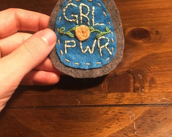 Pinback felt GRLPWR patch with floral detail!