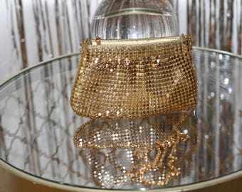 VintageBeautiful, Vintage, Y & S, Ladies, Gold Metal Mesh Clutch with Chain