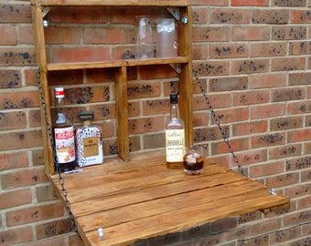 The Drinky Shelf, a snazzy upcycled,Fold down garden mini bar, made from reclaimed pallet wood,
