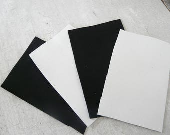 leather set 4 pieces of black and white