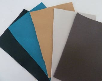 set of 5 leather coupons, assortment of colors