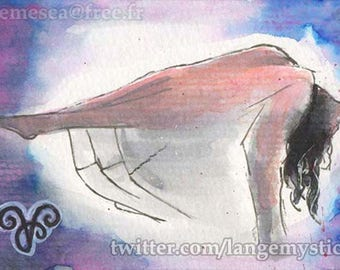 Artist Trading Card Sketch card single Drawing painting Girl Levitation PSC 1/1