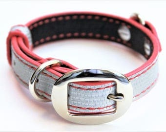 Dog Collar Genuine Lizard Silver/Pink