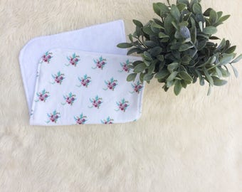 Floral Burp Cloth, watercolor burp cloth, hand painted baby necessities, exclusive print, baby girl