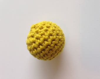 Bead crochet in cotton yellow mustard
