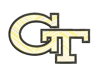 SALE**Georgia Tech football 6 Size Applique Designs College Football Logos Machine Embroidery Pattern