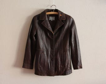 Brown Leather Jacket Vintage Leather Jacket 80s Women's Leather Jacket Leather Cardigan Padded Shoulders Hippie Small to Medium Size
