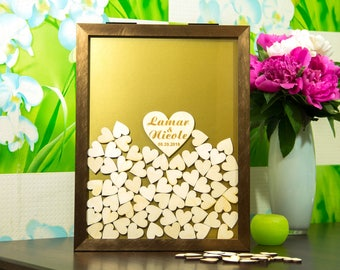 Frame wedding guest book Wedding guest book alternative guest book wedding guestbook Drop box guest book Wooden frame Guest Book
