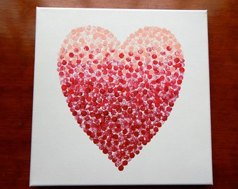 Ombre Dotted Heart Canvas