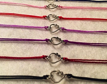 Silver heart charm connector bracelets 1 cm x1cm Bracelets adjustable xs to xxl! FREE international SHIPPING!