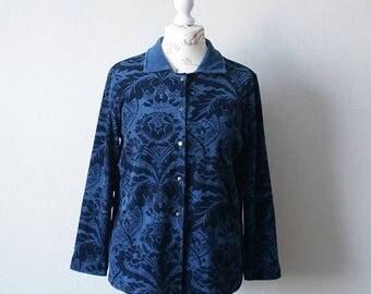 SALE 20% Vintage MARIMEKKO blue corduroy jacket in navy cornflower blue floral print Push up buttons Classic collar MIKA Piirainen women's b