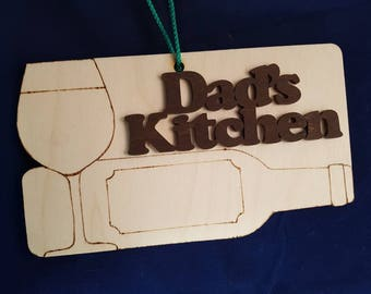 Dad's kitchen unquie birchwood pyrographics wall hanging sign for the modern master chef delightful cooking food