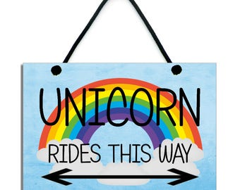 Unicorn Rides This Way Fun Gift Handmade Wooden Home Sign/Plaque 609