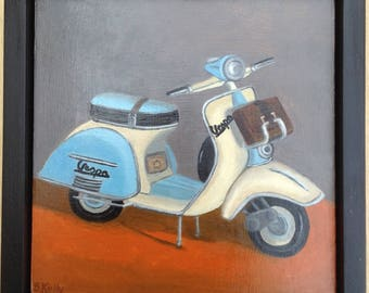 Framed Oil Painting of Vespa Scooter by Barbara Kelly