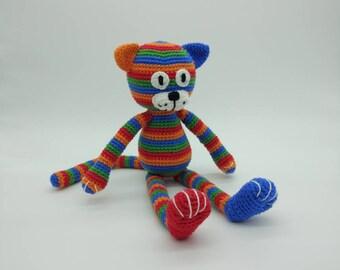 Crochet Cat, Plush Cat, Cat Softie, Toy Cat, Colourful Cat, Handmade Cat, Amigurumi Cat, Bright Cat