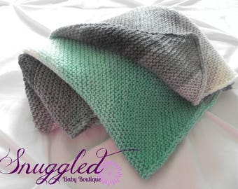 Mint, Gray and Cream Hand Knit Baby Blanket-READY TO SHIP