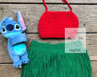 Lilo Crochet Outfit, Lilo Costume, Hawaiian Photo Prop, Lilo & Stitch Theme Party, Crochet Lilo and Stitch Costum, Disney Hawaiian Princess