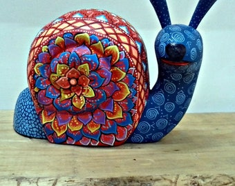 Big SALE Alebrije wood carving Oaxaca Mexican folk art snail animal sculpture unique hand made in Mexico