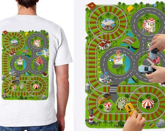 Car Play Mat Shirt for Dad. Race Track Shirt. Playset. Road Map Shirt. Massage Shirt. Father's Day for Dad and Son. New Dad.