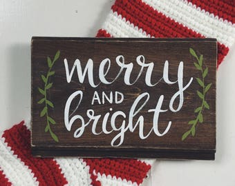 "Hand Painted ""Merry and Bright"" Shiplap Sign / Winter Decor / Christmas Decor / Winter Decorations / Christmas Sign / Shiplap Wooden Sign"