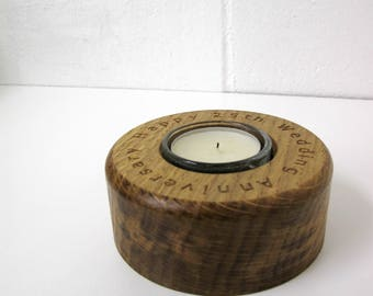 Personalised oak, single tea light holder