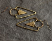 Raw and Hammered Brass Geometric Triangle Aztec Earrings
