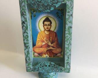 SALE! Buddha wooden box frame in blue- handmade- spiritual decor image-Altar- sacred space- decor