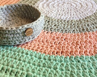 Floor Rug - Crochet - Nursery - Handmade - Home Decor - Custom Colours available -  Four Colours FREE SHIPPING