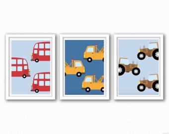 Construction/Transport/Car Prints - Set 3 - Optional Background Colours