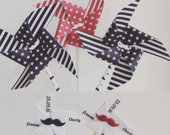 Pinwheels wind red, black & mustache
