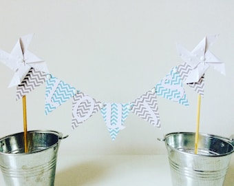 Cake topper flags & blue, grey and white pinwheels