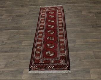 Authentic Handmade Tribal Runner Turkoman Persian Area Rug Oriental Carpet 2X6