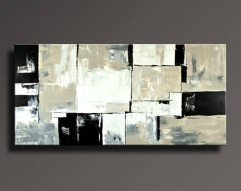 "75"" ABSTRACT PAINTING Black White Gray Painting Original Large Canvas Art Contemporary Abstract Modern Art Wall Decor - Unstretched - 22GLi1"