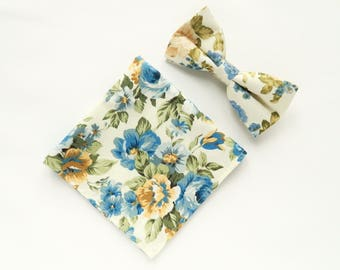 Blue and yellow floral Pre-tied bow tie floral pocket square wedding bow tie gift for men groomsmen UK