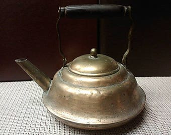 Copper repaired Tea Kettle With Lid from early 1900s