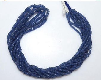 50% OFF Natural Blue Sapphire Faceted Rondelle Beads 16 Inch Strand , Blue Sapphire Faceted Beads , 2 - 3 mm - MC1015